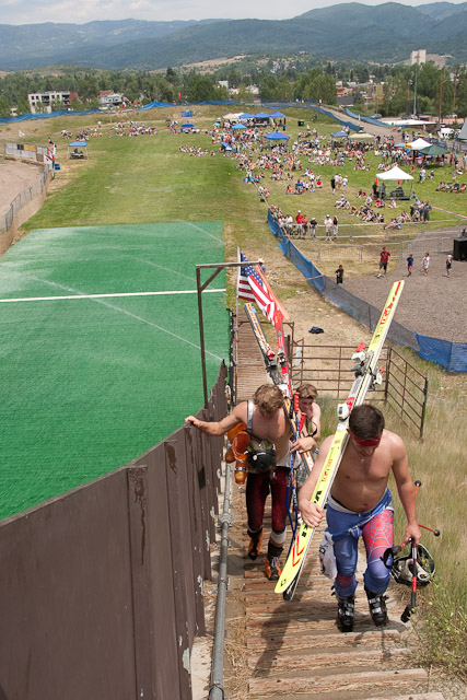 Jumpers had to walk up Howelsen Hill to compete in the Ski Jumping Extravaganza. Submitted by: George Fargo