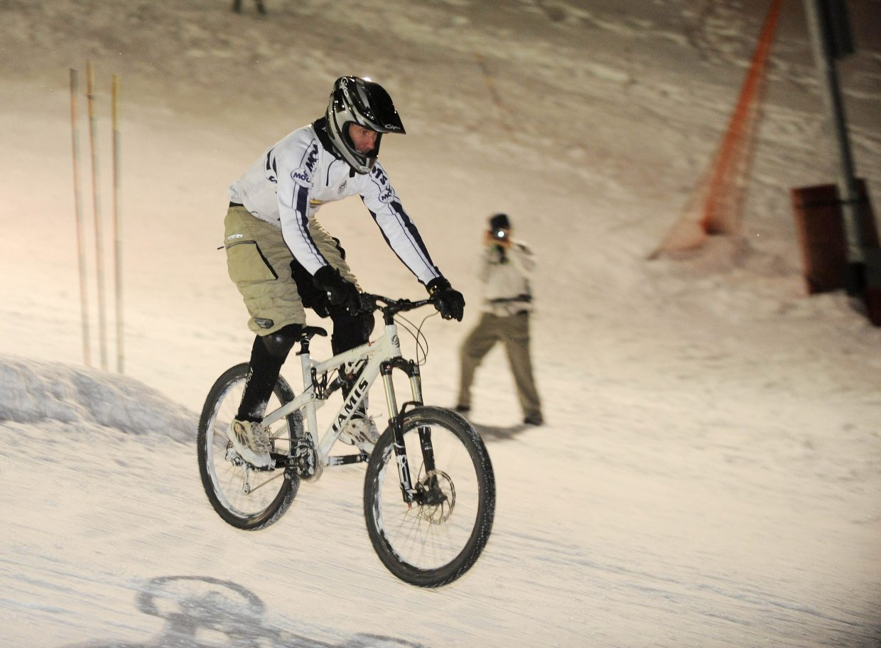 Steamboat Springs resident Matt Pronovost gets air off the jump on Friday night at Howelsen Hill.