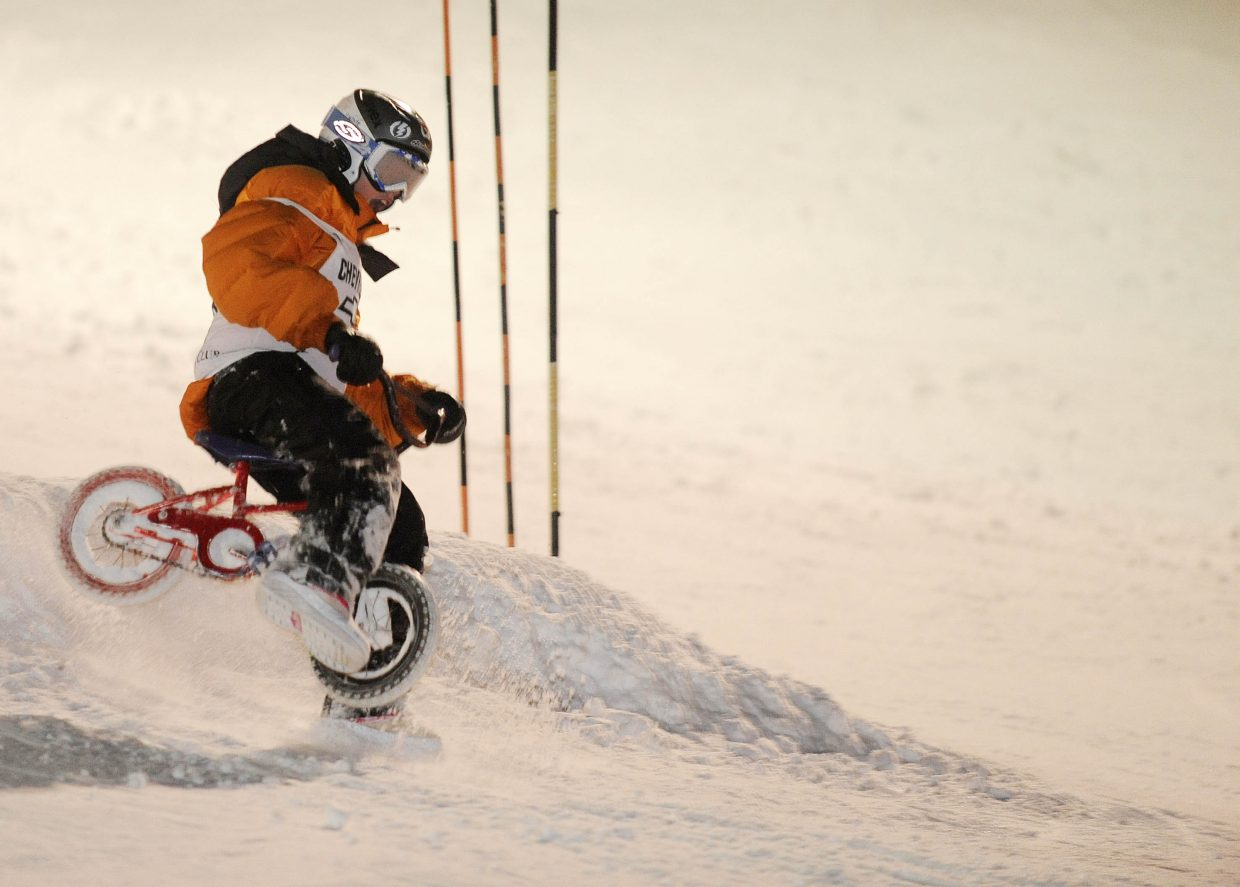 Steamboat Springs 13-year-old Peter White chose to ride down the face of Howelsen Hill on his mini bike.
