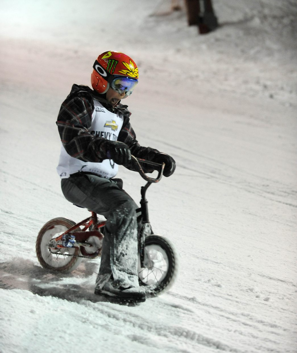 Steamboat Springs 11-year-old Matthew White also chose to go down the hill on his mini bike.