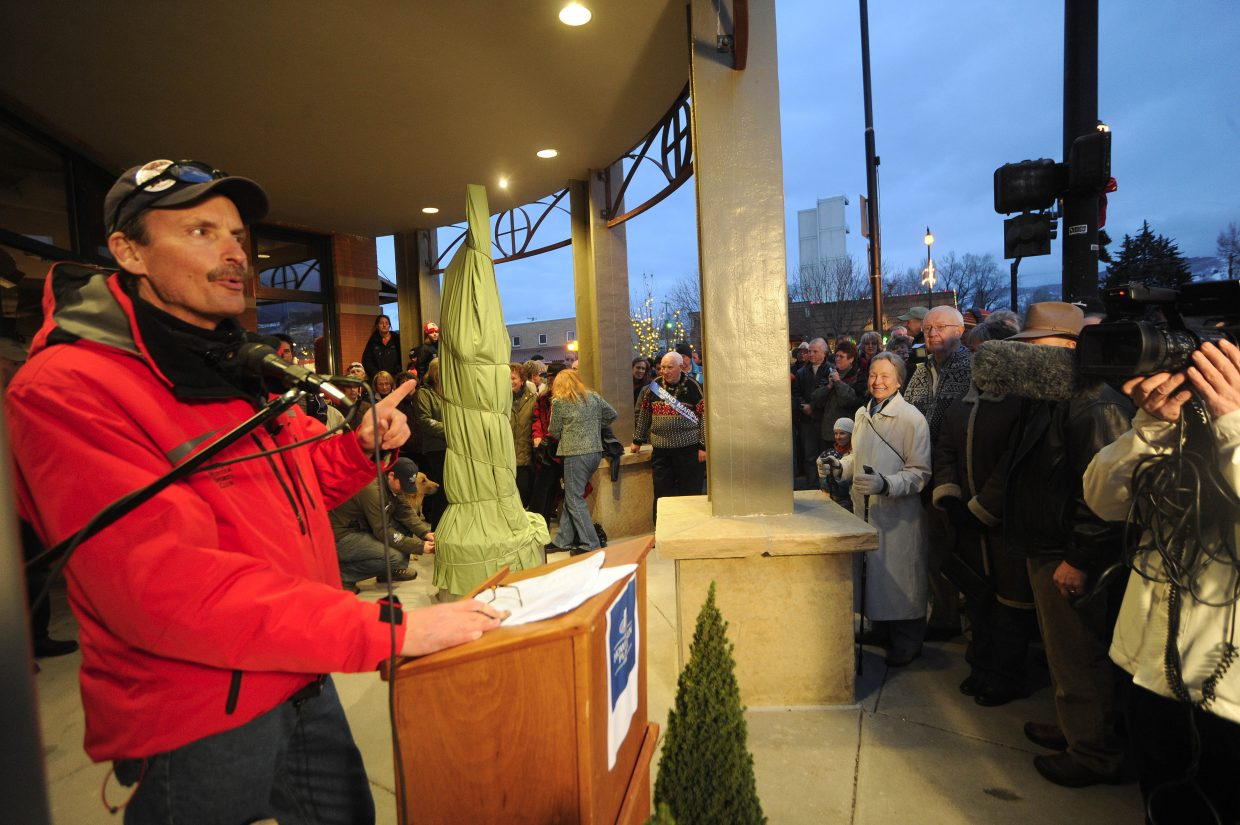 Steamboat Springs Winter Sports Club Executive Director Rick DeVos speaks to the crowd.