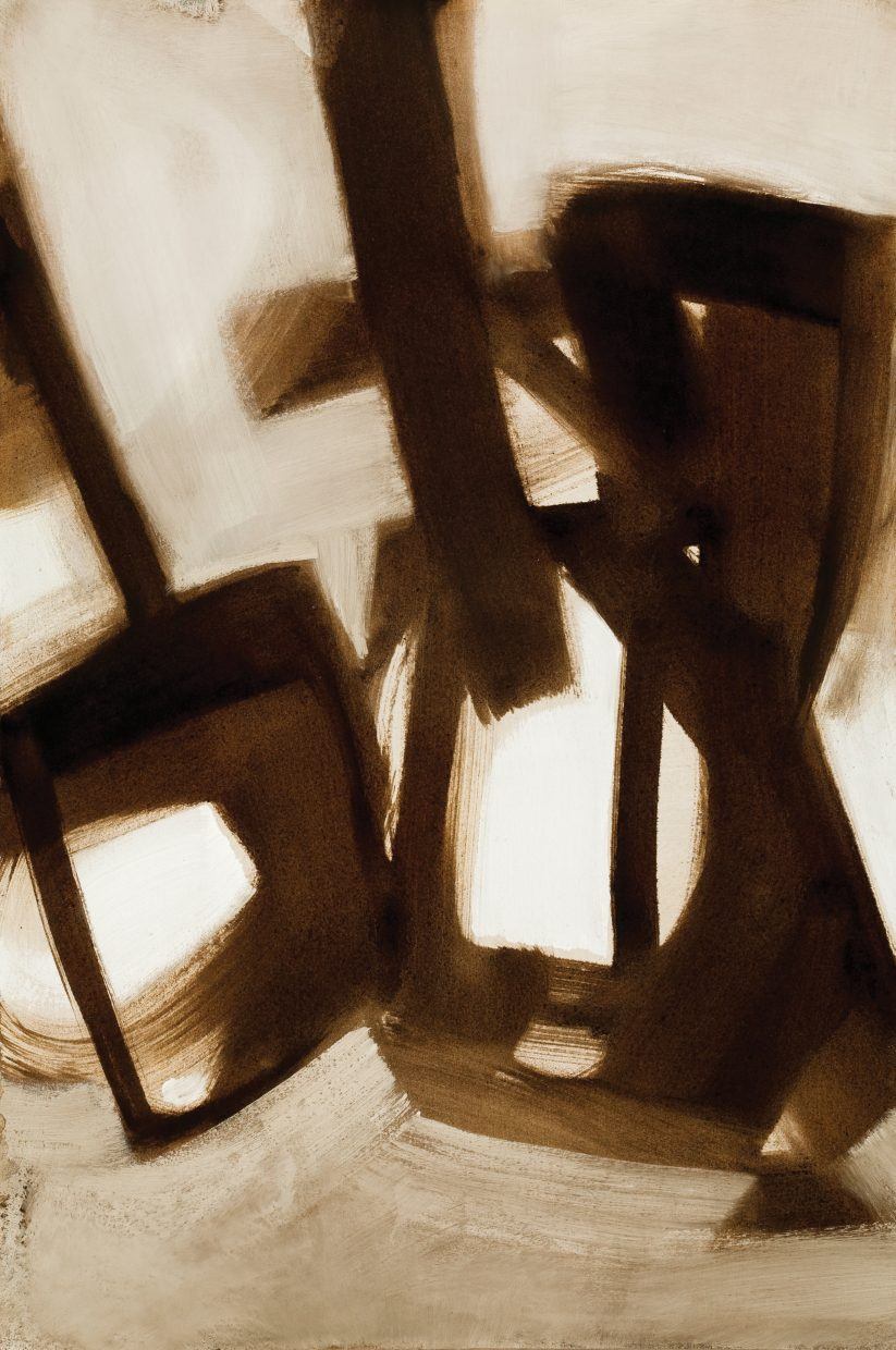 An example of Gregory Block's abstract art made with coffee.