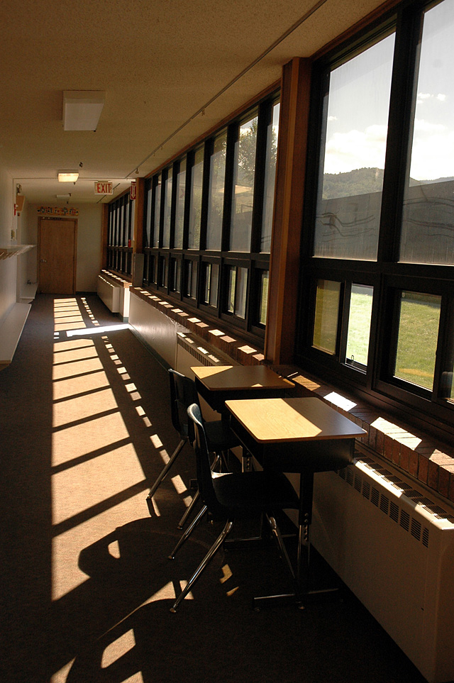 Students at Soda Creek sometimes meet with adults for tutoring or mentoring outside the classroom. Currently, that takes place at desks in hallways, but plans for a new school include more private meeting places.