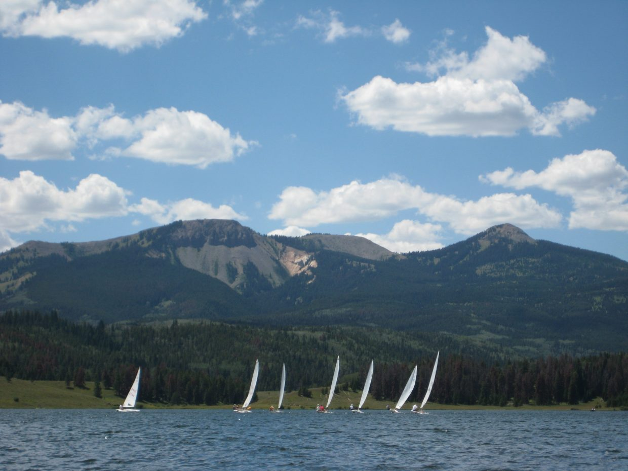 MC Scows racing at Steamboat Lake. The 12th Annual Steamboat Scowboys MC Scow Regatta is August 10 and 11 at Steamboat Lake. Submitted by: Rachel Bellis