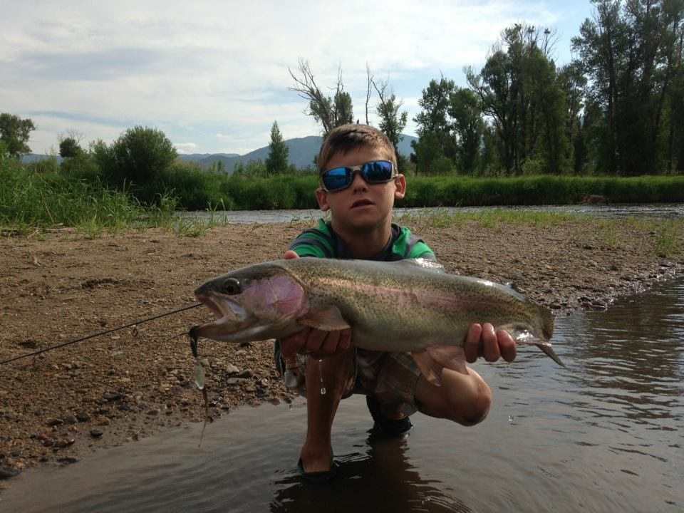 Giant Rainbow Trout caught by Jacob Rogers in the Yampa River on July Fourth. Submitted by: Krissy Rogers