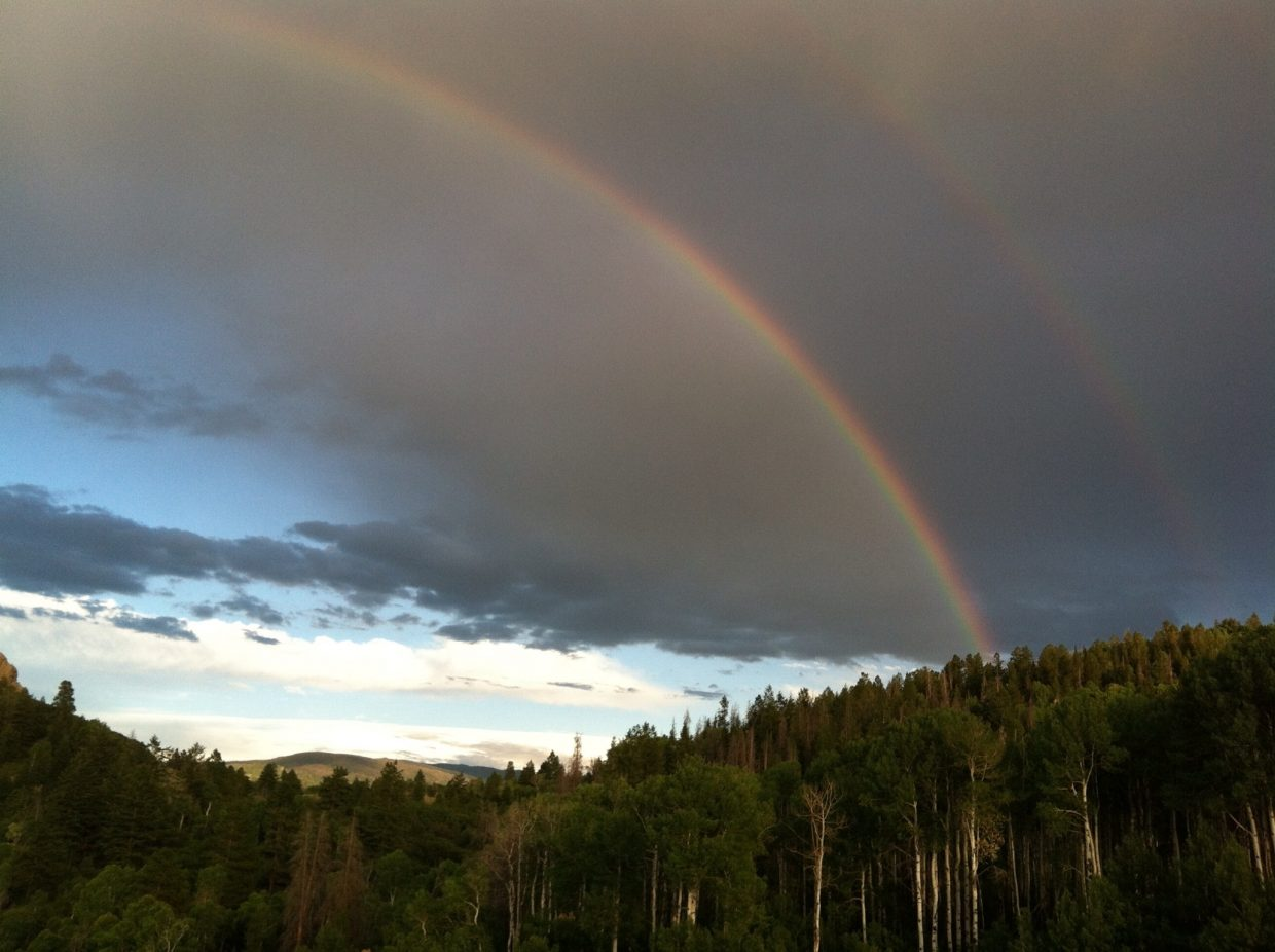 Double rainbow behind Eagleswatch. Submitted by: Pam Kuechenmeister
