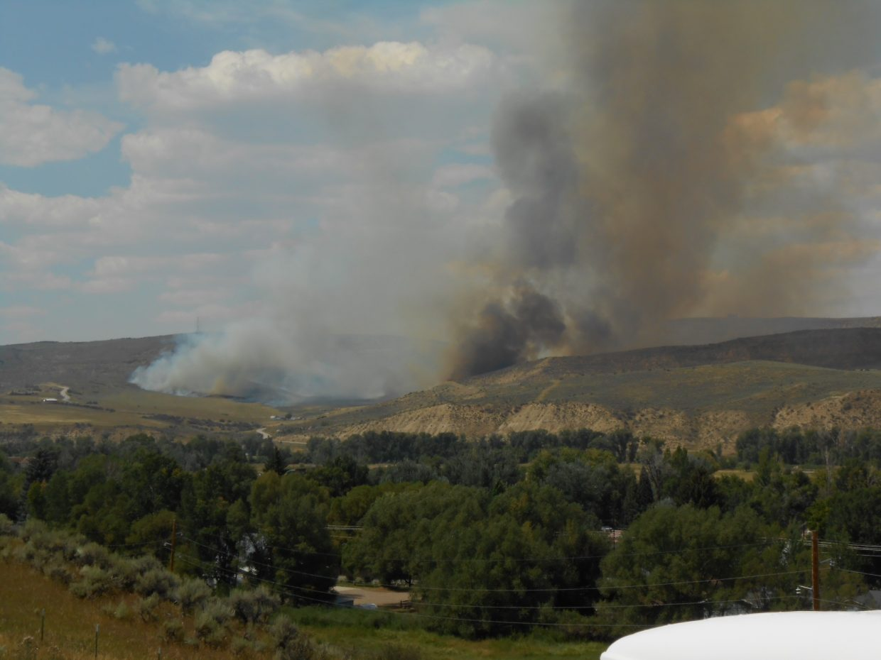 Hayden, Steamboat and Oak Creek crews are fighting a wildfire along the Cog Road (C.R. 76) in Hayden.
