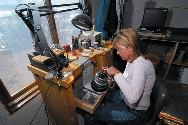 Sarah Buckles Larner sells and/or distributes jewelry out of her studio to local businesses such as The Silver Spur, Wild Horse Gallery of Steamboat Springs and Marabou Gallery.