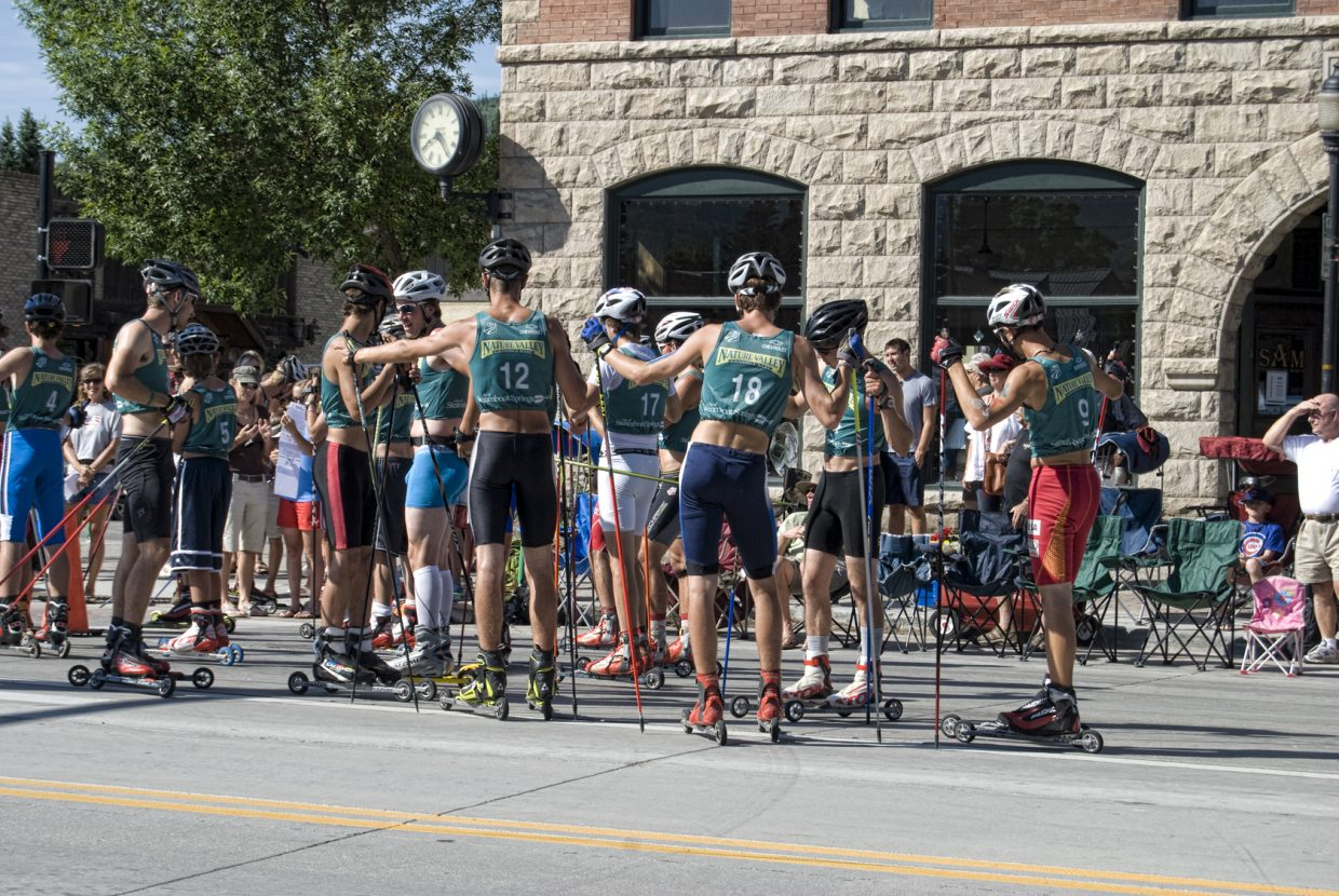 Participants get ready to skate in the Nordic combined roller ski race Monday in downtown Steamboat Springs.