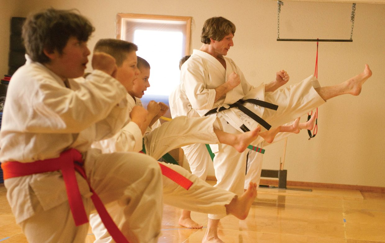 Sensei Michael David Bauk teaches a class of karate students at the Rocky Mountain Karate Academy in Steamboat Springs.