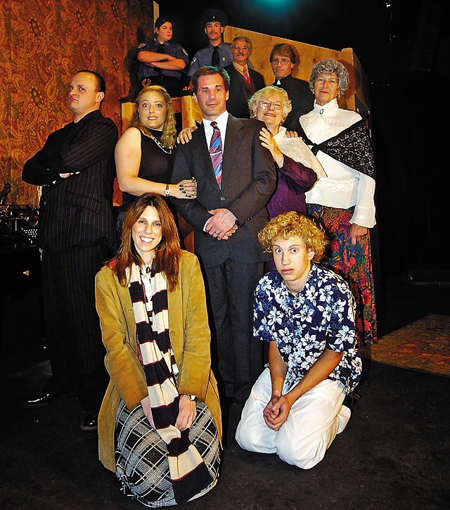 The cast of Arsenic and Lace includes, front to back Lesely Weisberg( Ms. Gibbs and Ms. Witherspoon), Cody Poirot (Dr. Einstein), Michael Staley (Jonathan Brewster), Cheryl Brown (Elaine Harper), Matthew Stoddard (Mortimer Brewster), Rusty Delucia (Abby Brewster), Kay Wagner (Martha Brewster), Mark Bucksen (Dr. Harper and Lieutenant Rooney), Cesare Rosati (Teddy Brewster), Jesse Browning (officer Brophy) and Michelle Hess (Officer O'Hara).