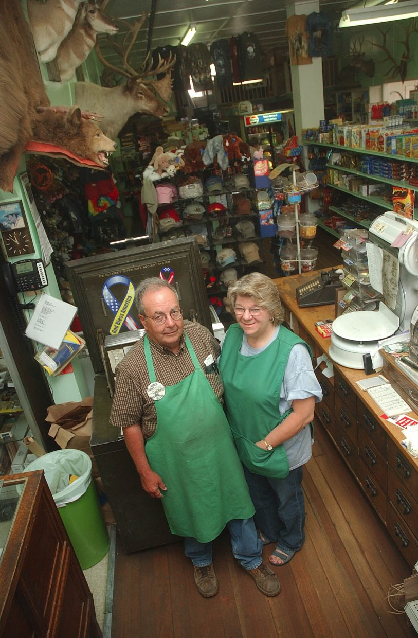 Ken and Cindia Montgomery stand behind the counter at their store, Montgomery's General Merchandise in Yampa.