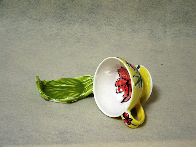 """Deb Babcock's poppy teacup. It is part of the Steamboat Clay Artisans' """"Here's to Mud in Yer Eye: A Celebration of Handmade Drinking Vessels"""" exhibit. The opening reception is from 5 to 7 p.m. Friday at Blue Sky Pottery in the Pine Grove Center."""