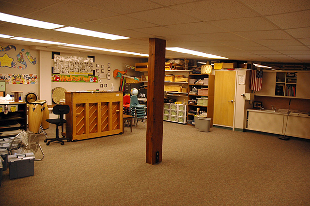 The music room offers another example of how support beams divide classrooms at Soda Creek Elementary School.