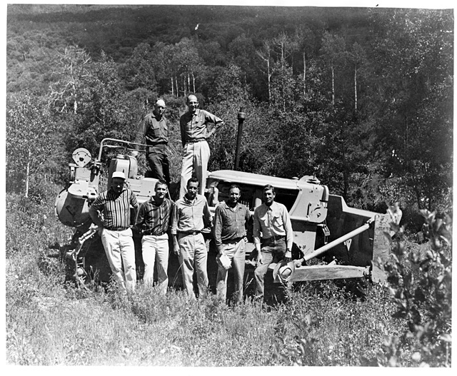The seven dreamers on groundbreaking day, July 6, 1958. Top row, from left, Willis Nash and Glenn Stukey. Bottom row, from left, James Temple, Buddy Werner, Marvin Crawford, William Sayre and John Fetcher.