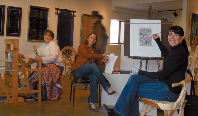February's featured artists at the Artists' Gallery of Steamboat, (from left) weaver Jacque Hart, jewelry designer Melanie Guerra and photographer Kim Keith, hosted an afternoon of artists insights and demonstrations this past Saturday. The gallery artists will continue to host artist talks and demonstrations regularly. For a list of events, visit www.SteamboatGallery.com or call the gallery at 879-4744.