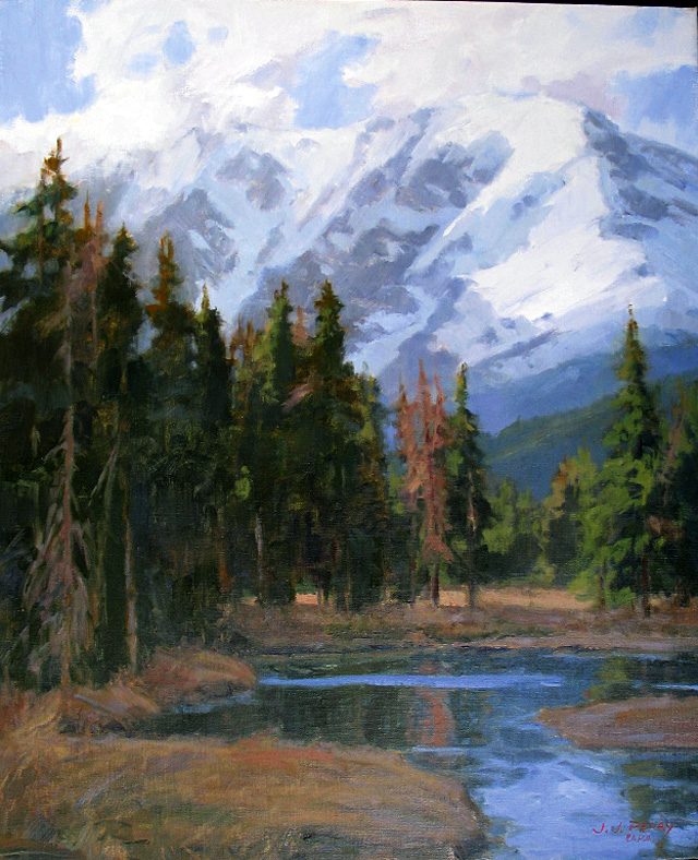 """""""Rugged Peaks,"""" oil on linen by Jean Perry. She and Curtis Zabel have an opening reception at the Depot Art Center tonight from 5 to 7 p.m."""