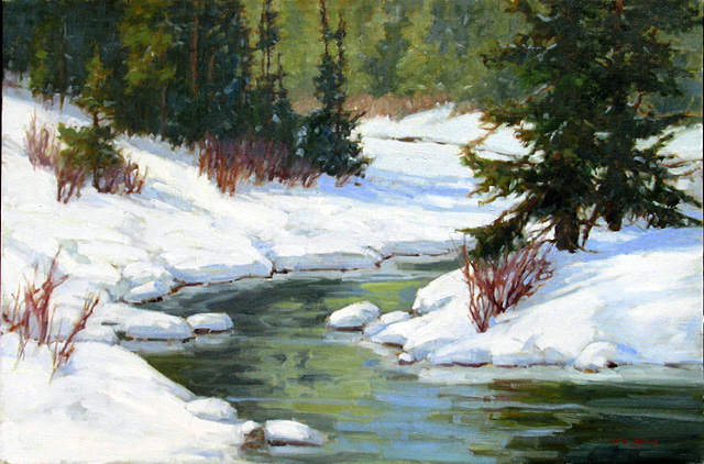 """""""Winter on Fish Creek,"""" oil on linen by Jean Perry. Perry and Curtis Zabel have an opening reception at the Depot Art Center today from 5 to 7 p.m."""