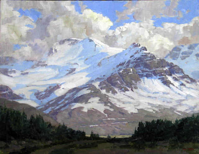 """""""The Rockies,"""" oil on linen by Jean Perry. Perry and Curtis Zabel have an opening reception at the Depot Art Center today from 5 to 7 p.m."""