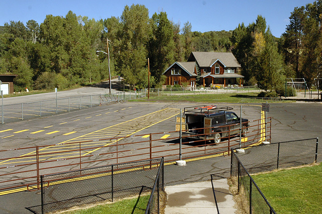 Soda Creek has marked areas where parents drive to drop off and pick up their children. But Principal Judy Harris said that although staff members are well-organized in helping match parents with students, the combination of kids and cars is cause for concern.