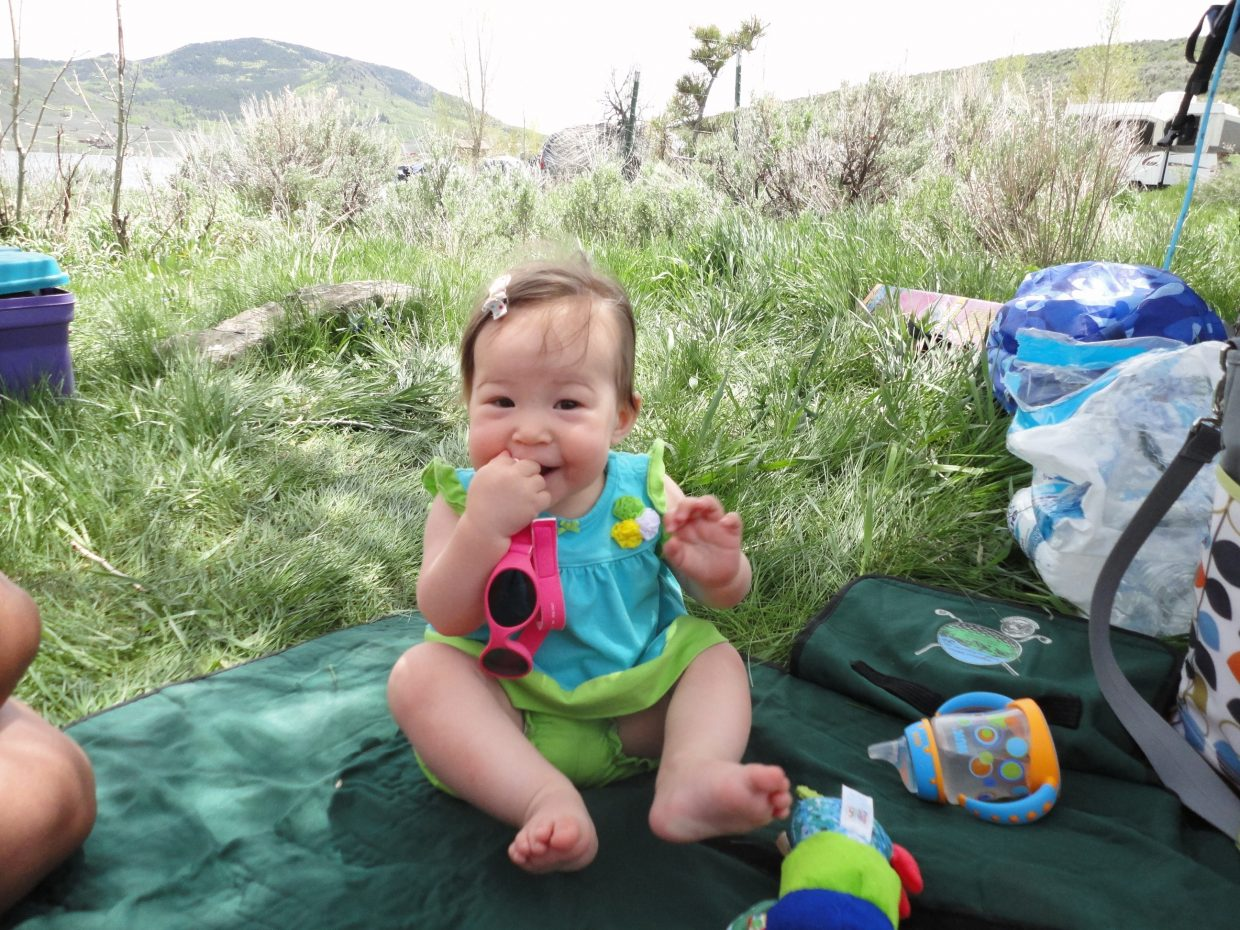 Briellen Sue Bowman's first camping trip. Submitted by: Joey Bowman