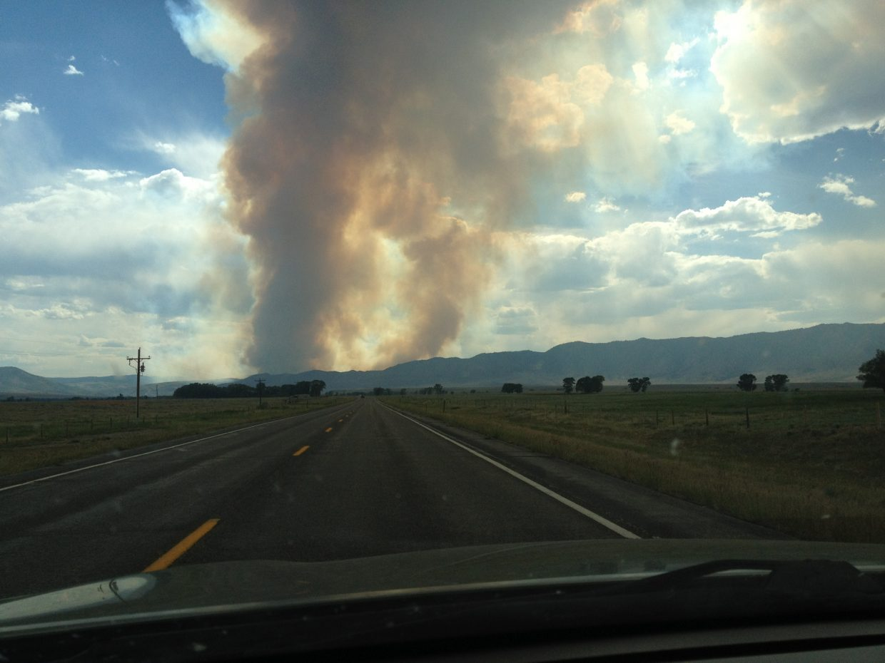 A fire that started Saturday afternoon in the Medicine Bow National Forest near Woods Landing, Wyo., has consumed 2,000 acres and was growing Sunday night. The Squirrel Creek Fire is northeast of Routt County's border with Wyoming and is burning beetle-killed timber. The fire's rapid growth Sunday forced evacuations, according to a website being updated by the U.S. Forest Service. The website said several fire engines, a Type II attack crew, and air resources were actively fighting the fire. The cause was unknown.