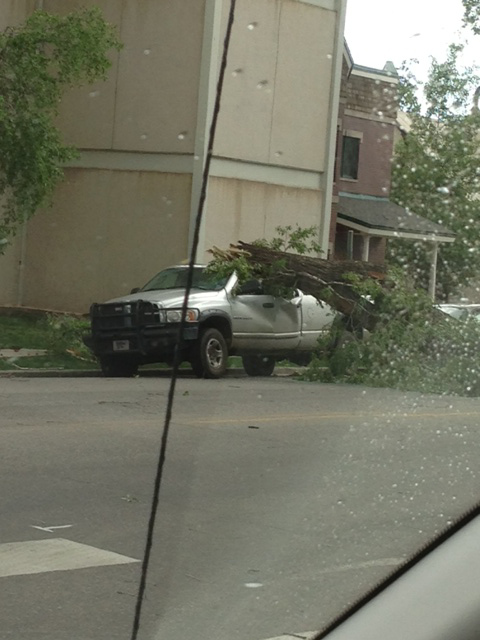 Falling limb on truck in downtown Steamboat. Submitted by: Jim Wachsman