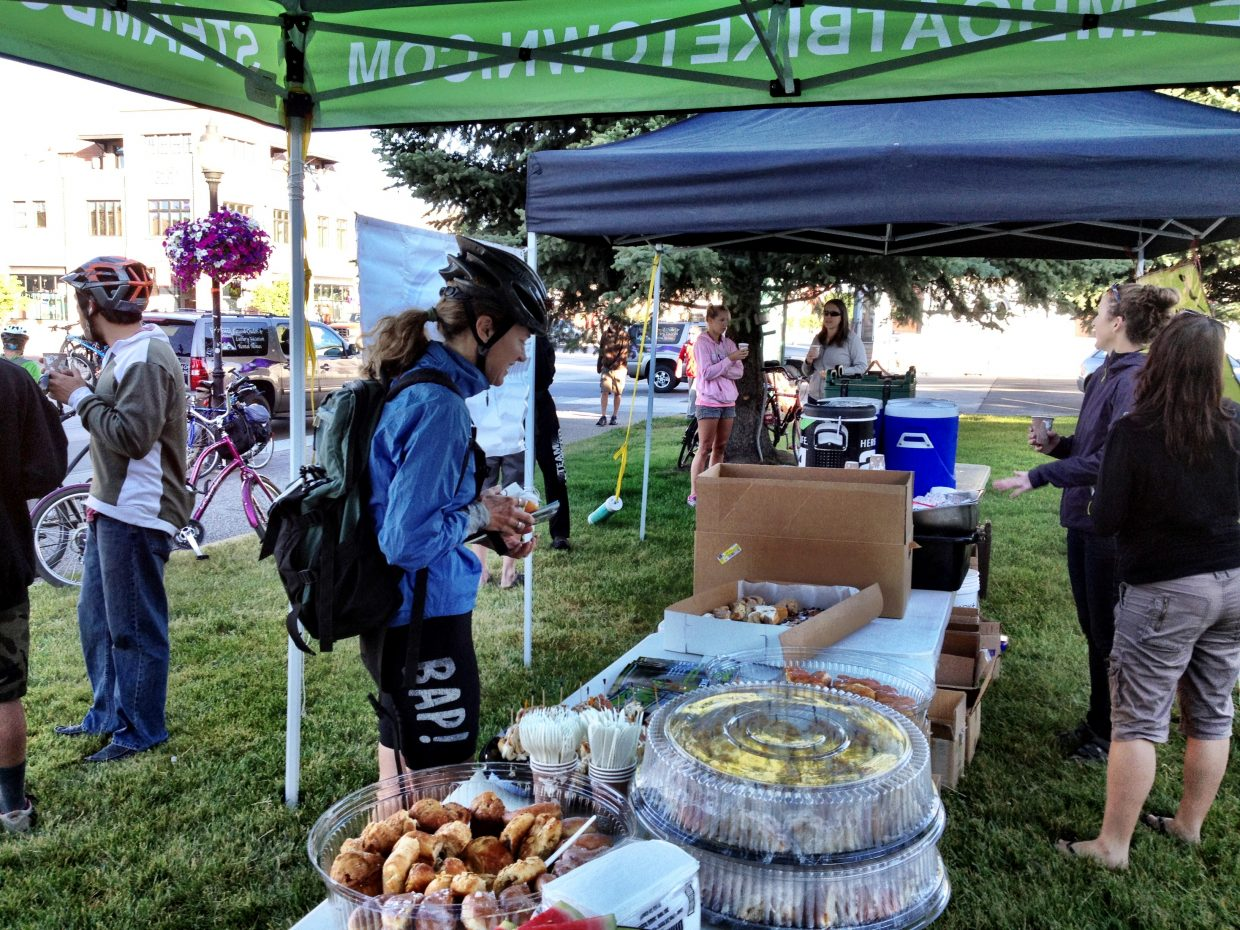 Estimates of more than 150 bike commuters showed up for Routt County Riders' Bike to Work Day Breakfast on Wednesday morning on the courthouse lawn. Moving Mountains staff presented the breakfast, mobilizing at 6 a.m. to get set up. Volunteerism in the community is a core value at Moving Mountains, and the staff chose the breakfast as an area of focus this summer. Submitted by: Wendy Tucciarone