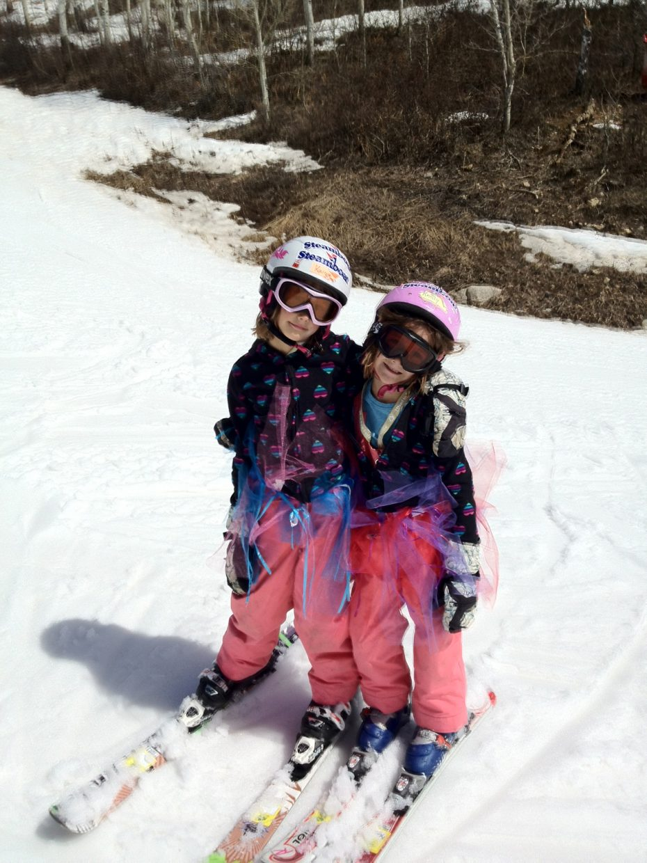 Modeling magical tutus that they made themselves, Kaiya and Keely McCombs enjoyed spring skiing Saturday. Submitted by: Margo McCombs