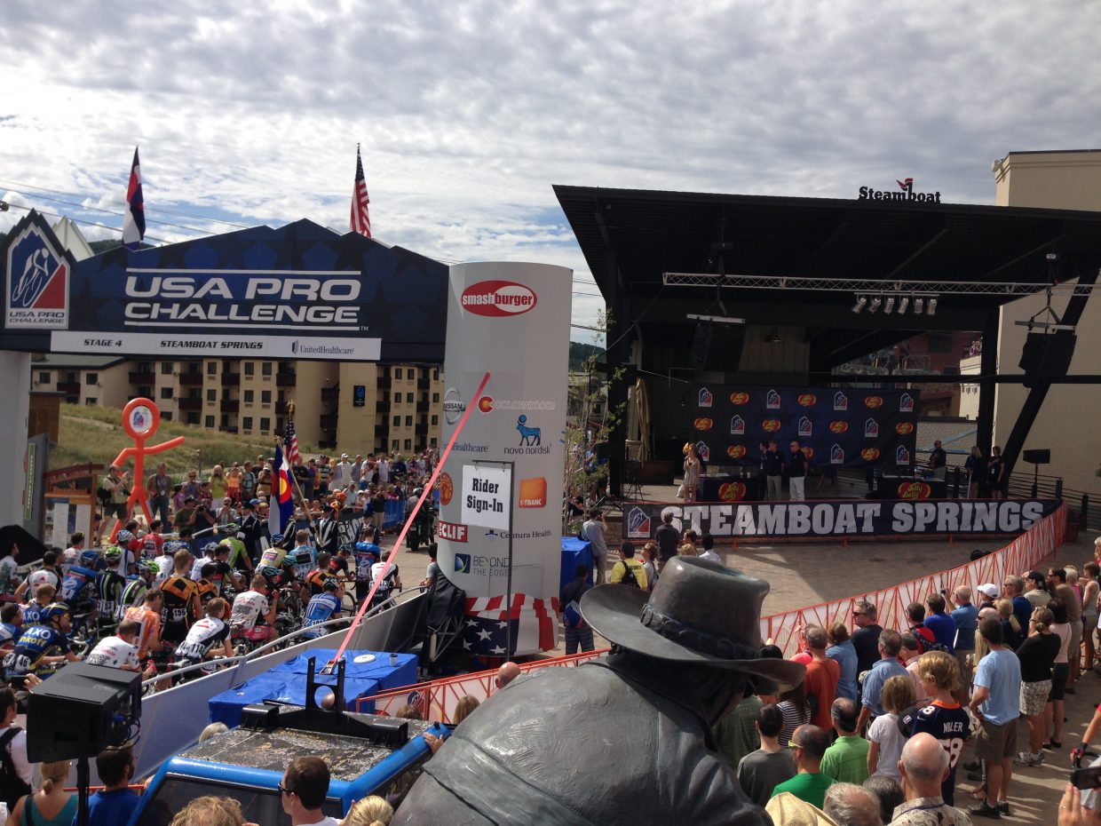 Packed plaza for the USA Pro Challenge. Submitted by: Craig Canon