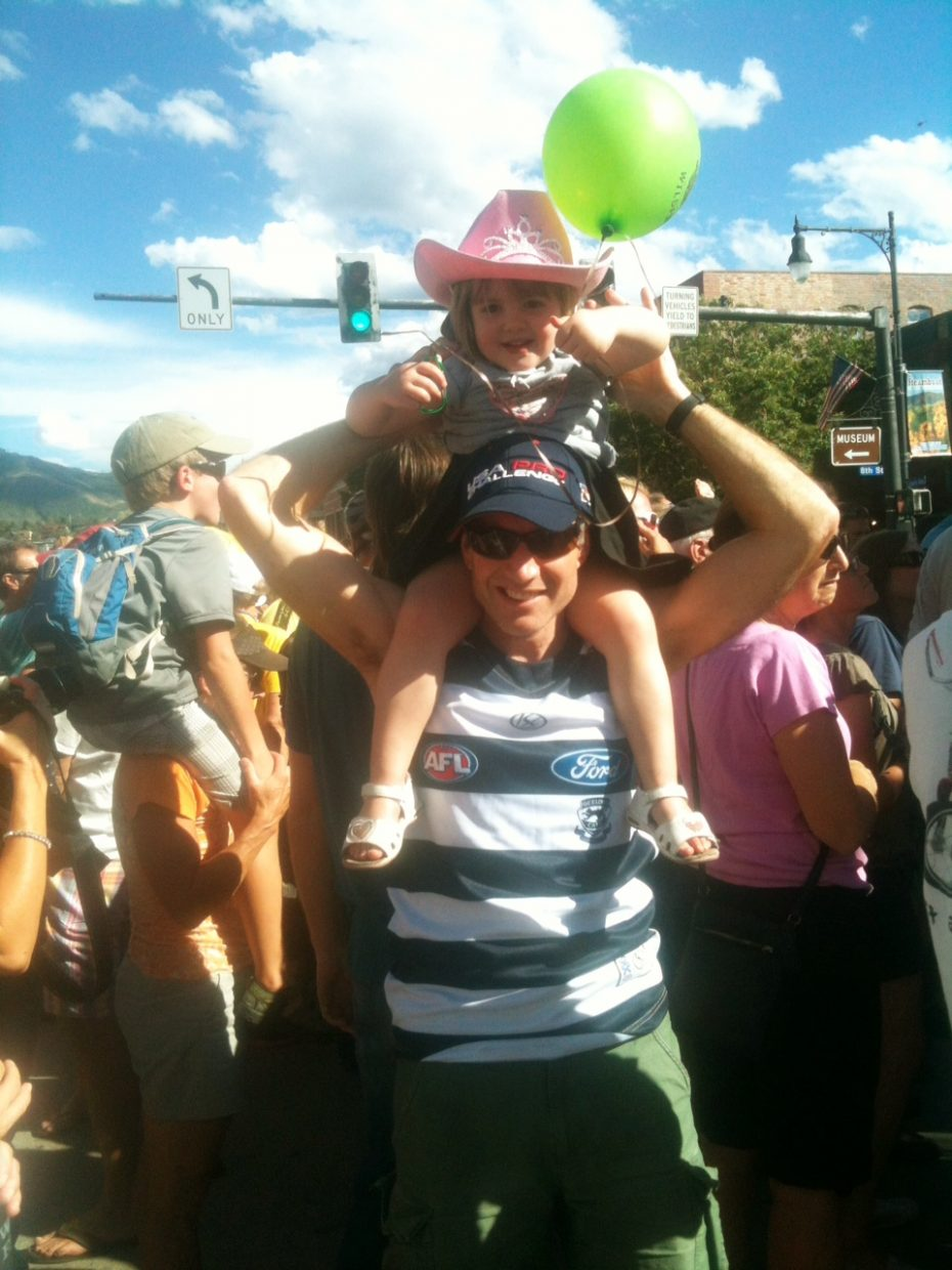 We came from Australia to watch the race with 3-year-old Darcey, pictured, and 4-month-old Dashiell. We're here in Steamboat for the week and couldn't think of a nicer place to watch the race, especially with an Aussie in the lead. We'll be back! Submitted by Chakriya Bowman