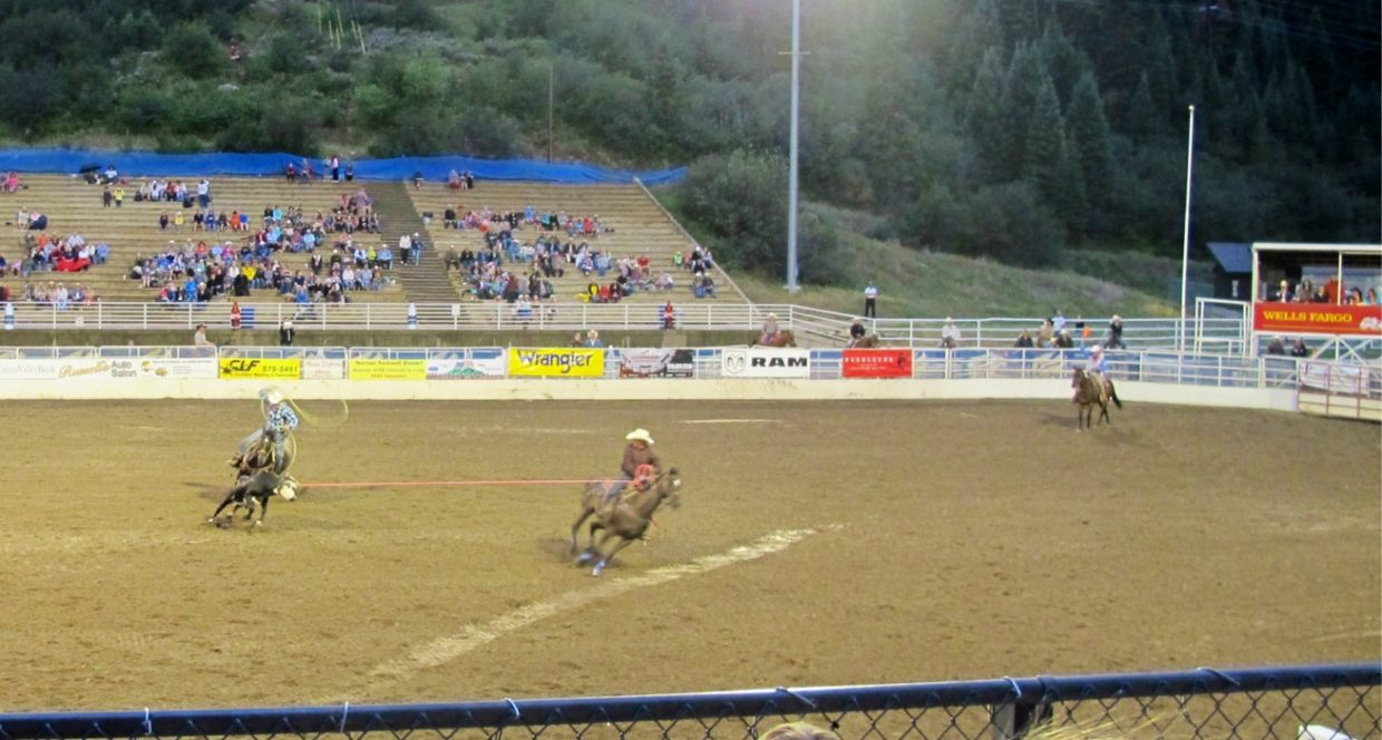 Team roping Aug. 10 at the Steamboat Springs Pro Rodeo. Submitted by: Jan Fisher of Colleyville, Texas.