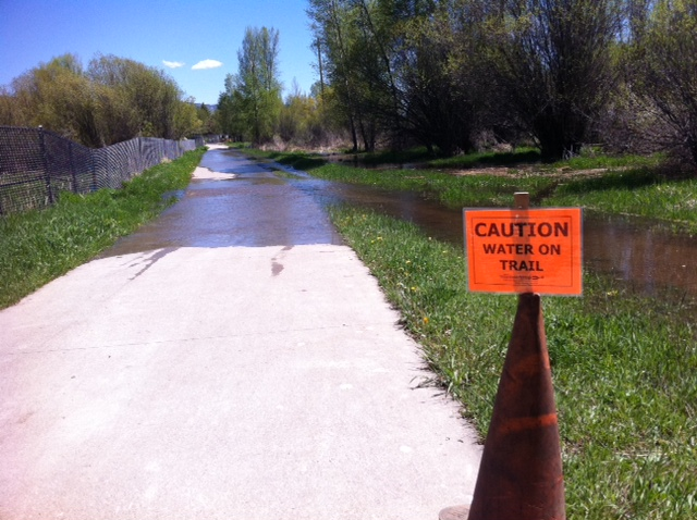In some cases, water ran completely across the Yampa River Core Trail on Thursday.