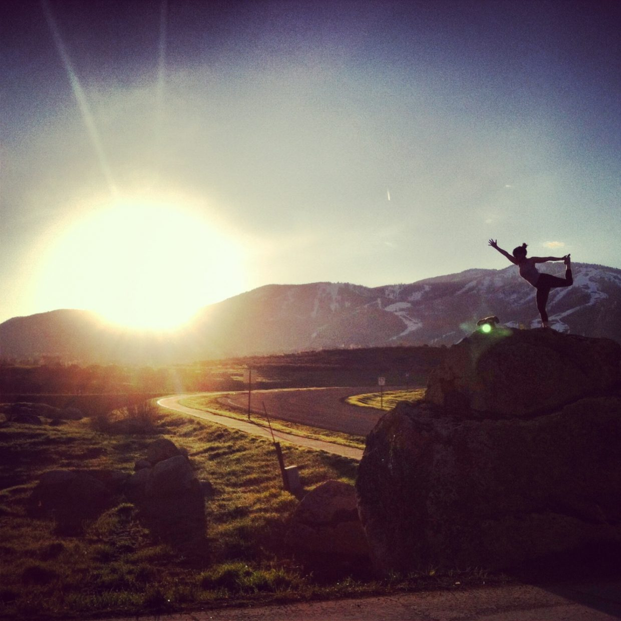 This is me last weekend in Steamboat Springs. I headed up to the 'Boat to visit my mom for Mother's Day. I decided to drag my sister Marnie Buckley out of bed to practice a little yoga in the sunrise. Photo by: Marnie Buckley. Submitted by: Cat Buckley.