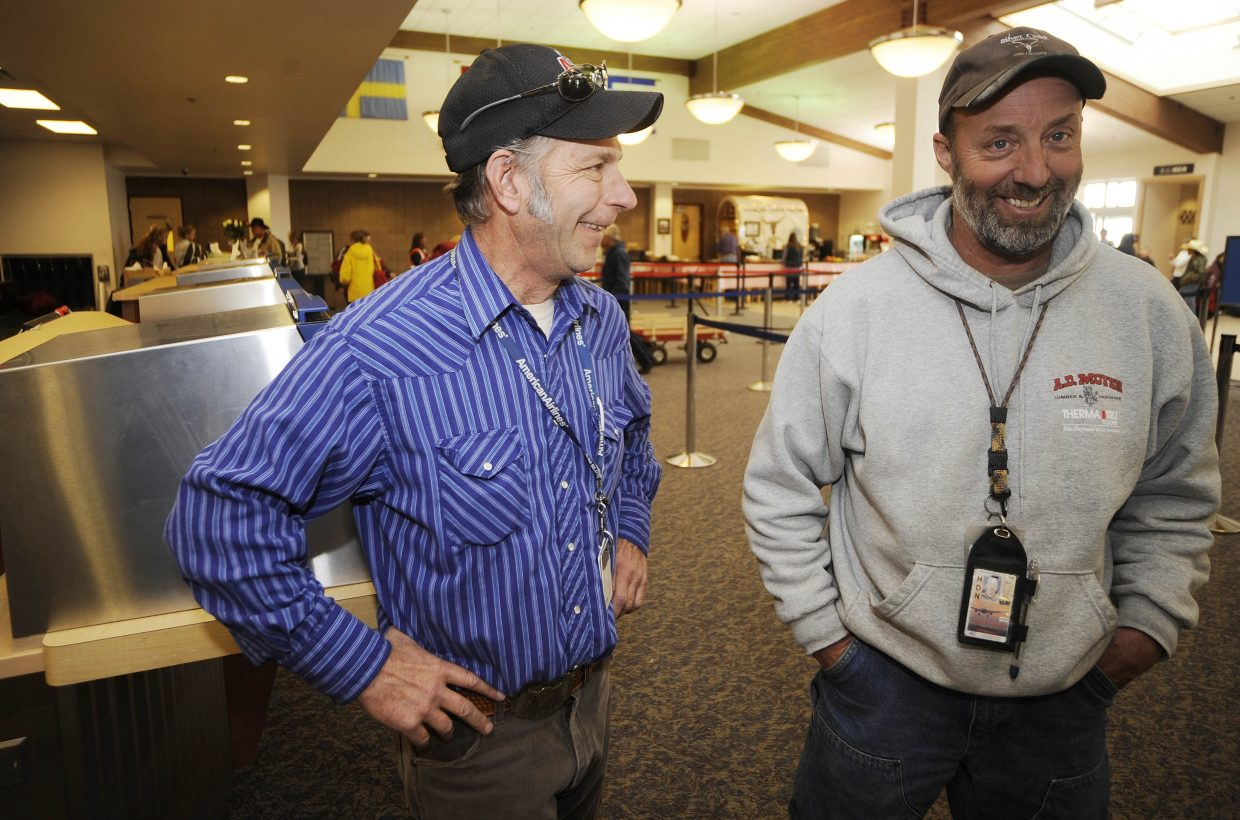 Yampa Valley Regional Airport American Airlines manager James Denker, left, and landside supervisor Bob Keller talk about their jobs at the airport.
