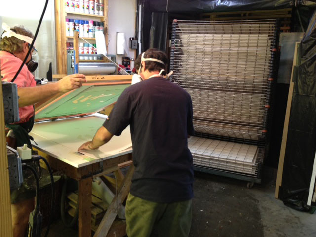 Printmaker Theo Dexter donated the use of his Lone Oak Studio this week for the process.
