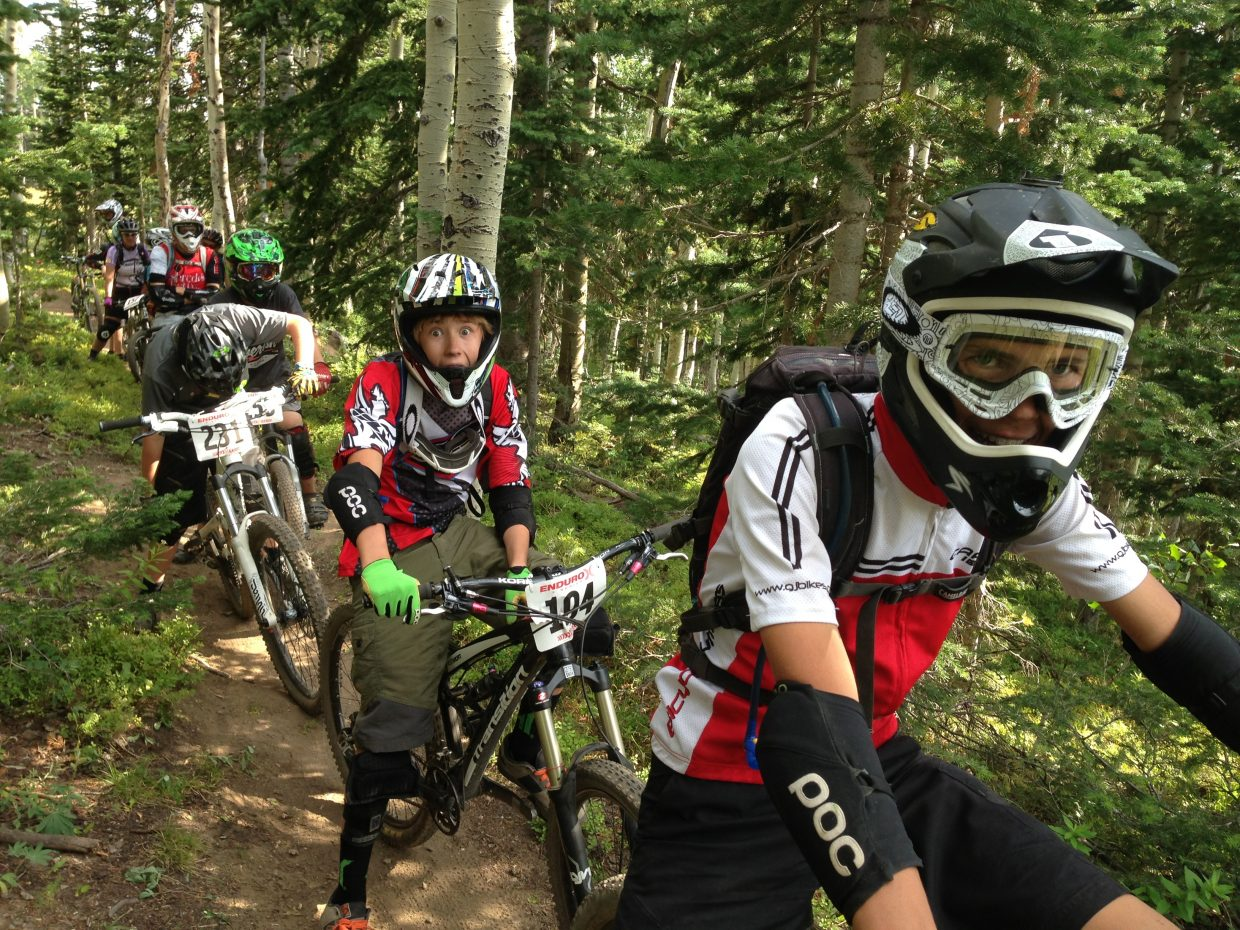 Riders participate in Saturday's Enduro-X Race Series Sunshine Stage at Steamboat Ski Area.