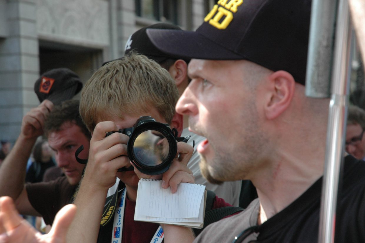Norwegian Petar Keseljevic denounces homosexuality. Keseljevic and other members of Open Air Preachers argued with people on the 16th Street Mall on Monday in Denver.