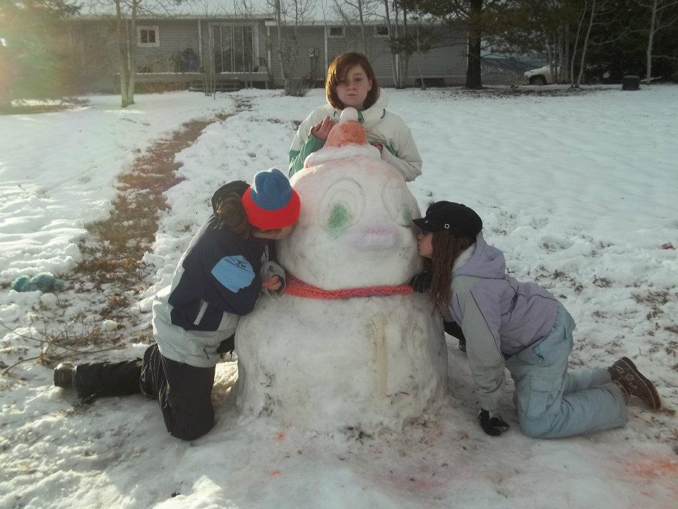 Sisters Alli Major, Makayla Woods and Hannah Woods build a snow duck named Sir Quacks-alot. Submitted by: Makayla Woods