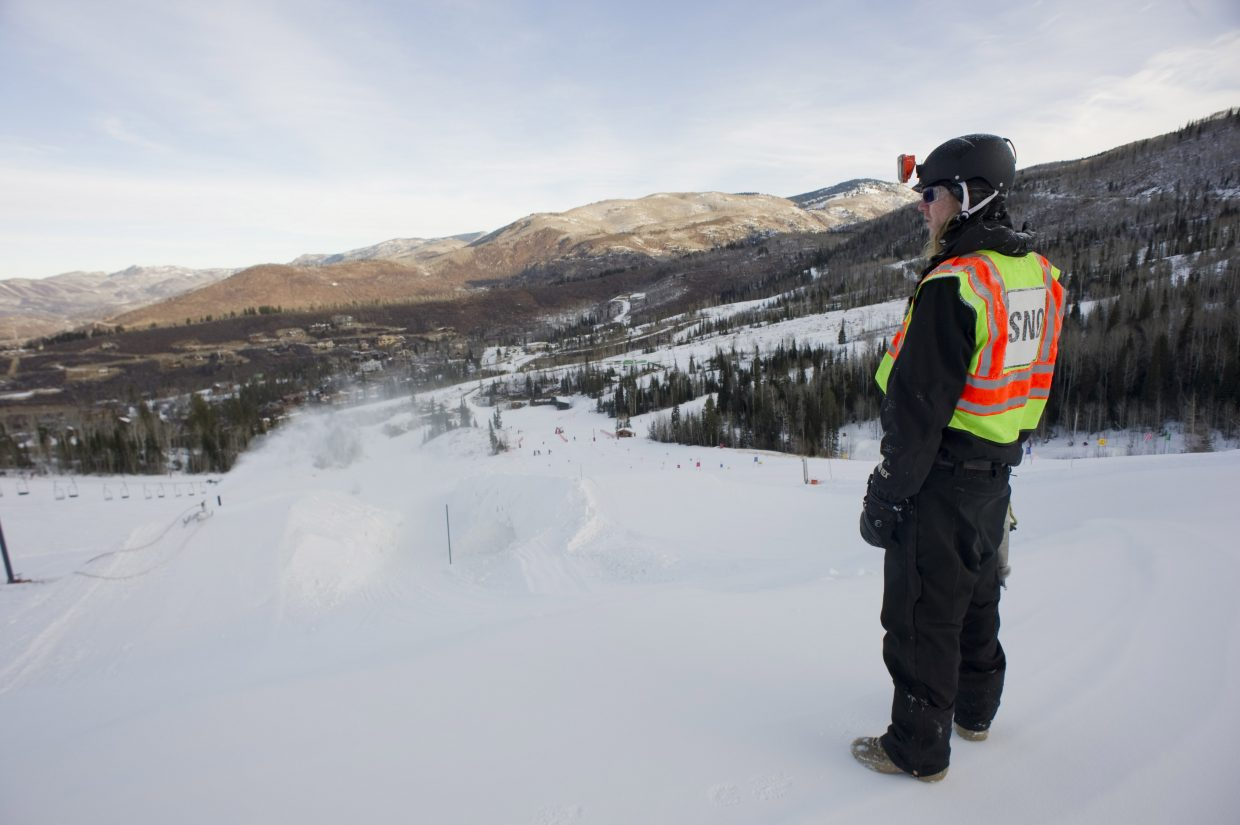 Snowmaking technician Pierce Delhaute checks out Bashor Bowl, where crews face the challenge of making snow to build Mavericks Superpipe.
