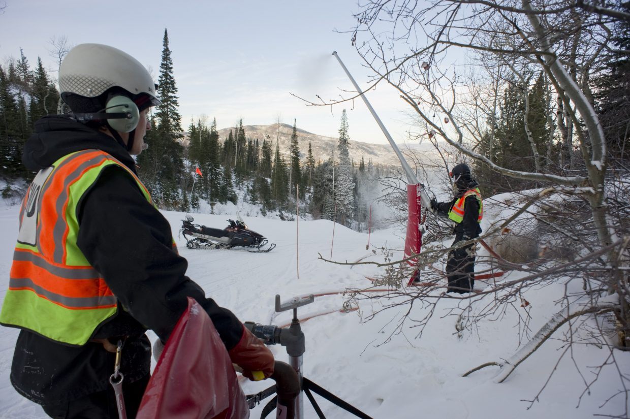 Snowmakers at Steamboat Ski Area oversee operations along one of the ski area's 165 trails.