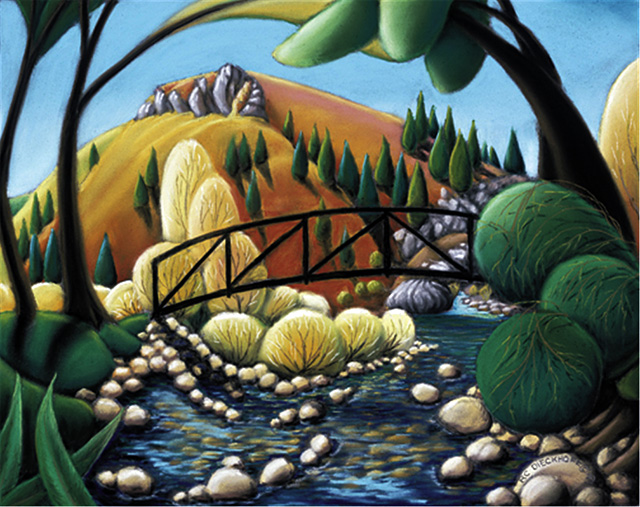 """""""Archimedes Soda Creek,"""" pastel painting by RC Dieckhoff. A retrospective of his work will be featured this month in the front gallery at the Artists' Gallery of Steamboat."""