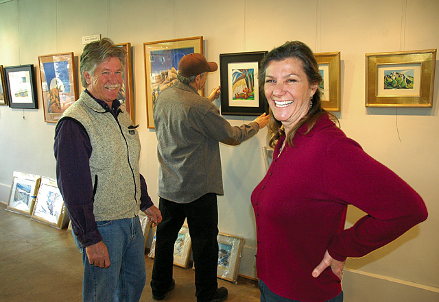 Bill Sanders, RC Dieckhoff and Susan Gill Jackson hang and place their artwork for the Artists' Gallery of Steamboat's first art show.