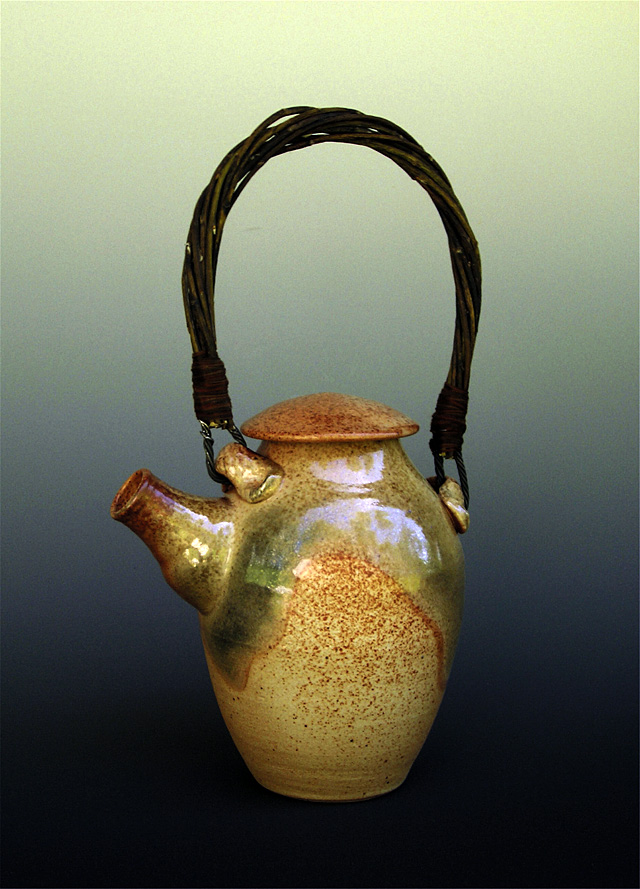 This is one of Bill Sander's shino glaze teapots. His work will be featured this month in the front gallery of the Artists' Gallery of Steamboat.