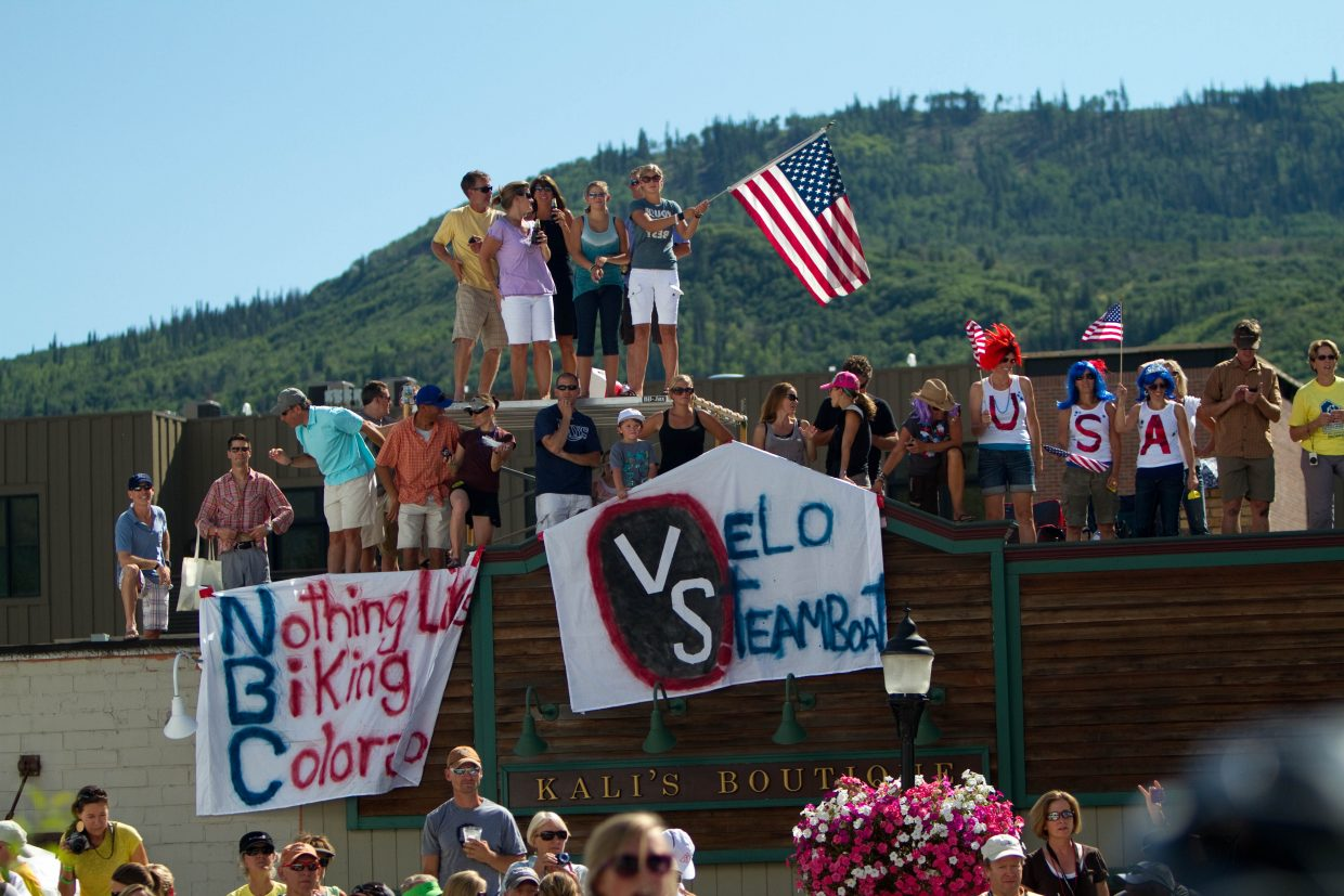 Steamboat fans during the USA Pro Cycling Challenge.