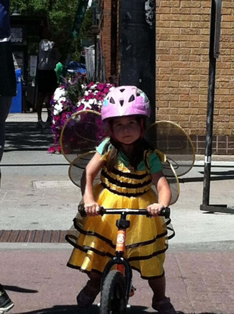 Bicycling down Lincoln Avenue on the way to the Kids Strider Bike Cup. Submitted by Juli Montes