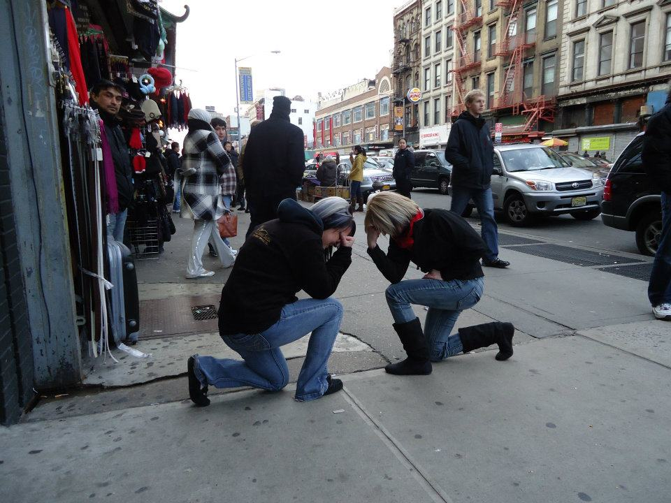 Tebowing in the middle of Little Italy, New York City. Submitted by: Heather Jette