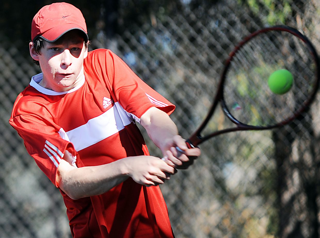 Jamey Swiggart plays Thursday in the first round of the state tennis tournament in Pueblo.