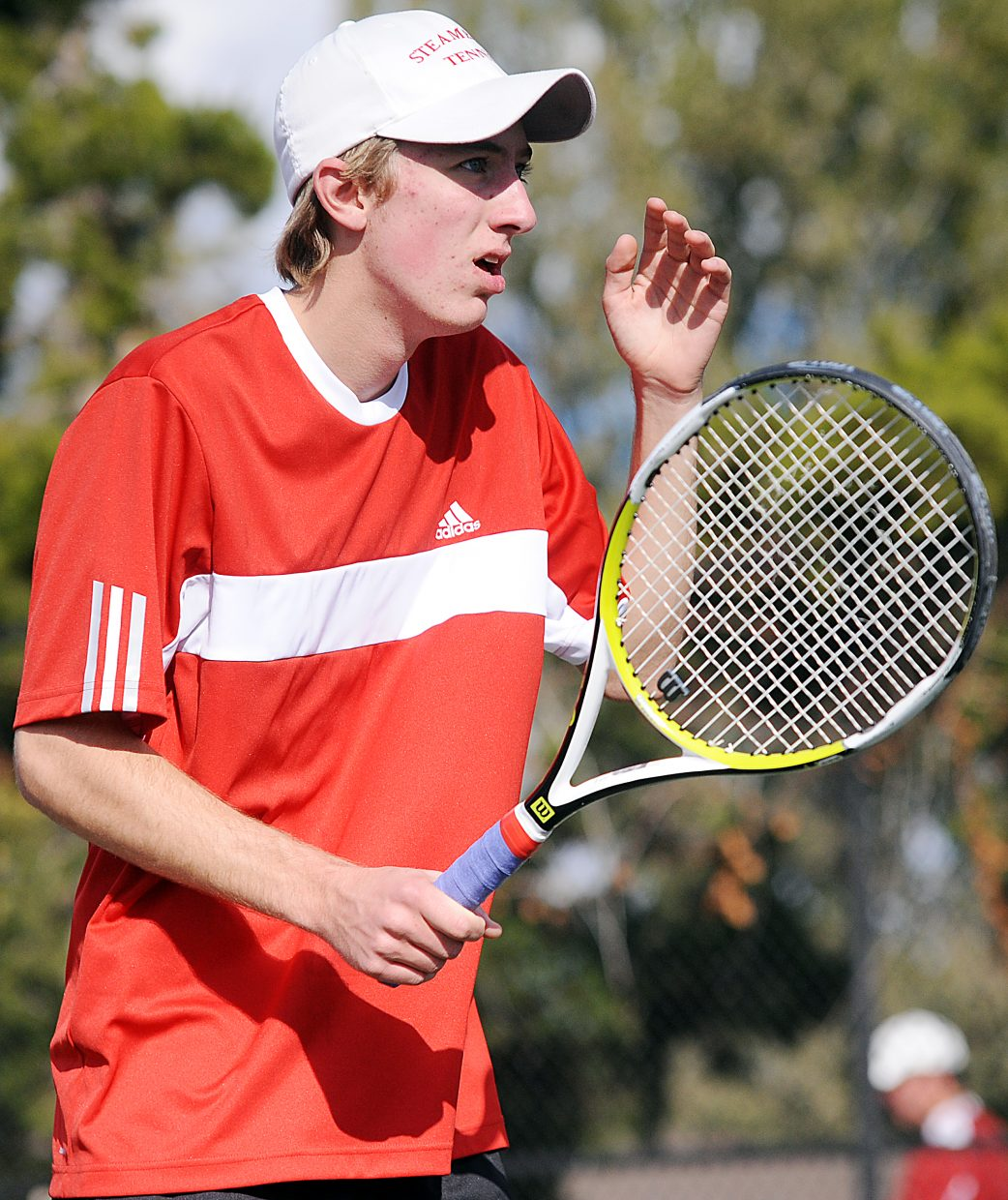 Steamboat senior Jeff Lambart reacts after a shot Thursday at the state tennis tournament in Pueblo. Lambart and Jack Burger, the No. 1 doubles team, lost in three sets in the quarterfinals.