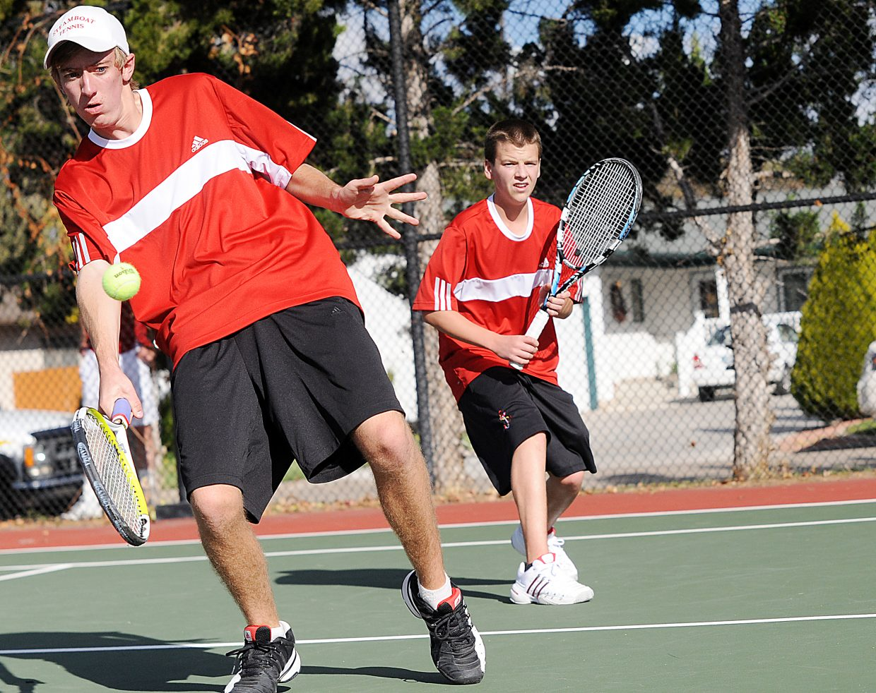 Jeff Lambart eyes a ball Thursday at the state tennis tournament in Pueblo.